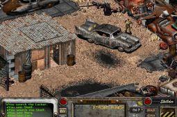Fallout 1 : personnage et voitures détruites