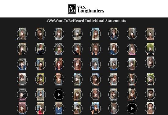 #WeWantToBeHeard indywidualne video klipy / Źródło: vaxlonghaulers.com