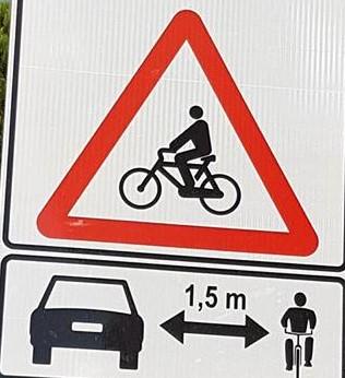 Lag på 1,5 m avstånd vid omkörning av cyklist