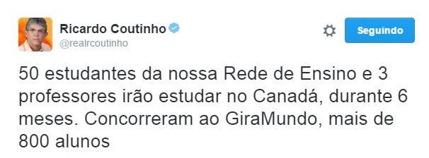 "RC anuncia selecionados no programa GiraMundo: ""compromisso cumprido"""
