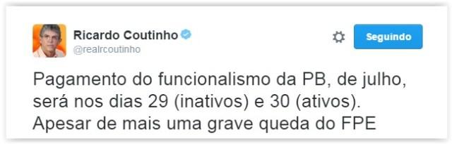 "RC anuncia pagamento do funcionalismo e ressalta ""queda grave"" do FPE"