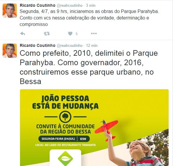 Nas redes sociais, Ricardo anuncia início das obras do Parque Parahyba