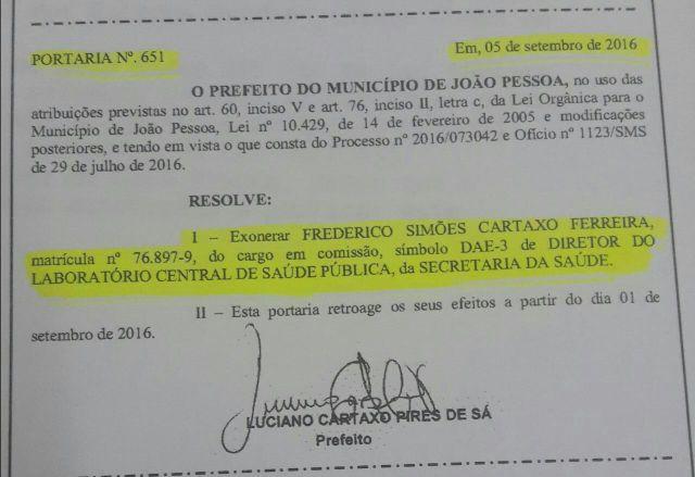 Cartaxo exonera comissionado dono de laboratório que presta serviços à PMJP