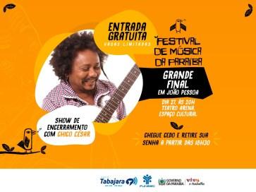 Finalíssima do Festival de Música é neste sábado com show de Chico César
