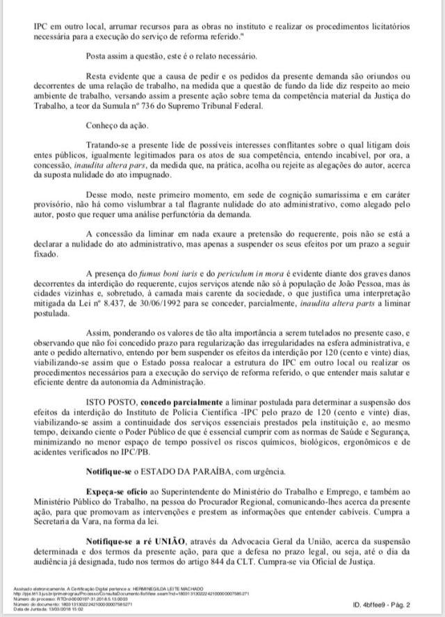 Justiça concede liminar e suspende interdição do IPC de João Pessoa