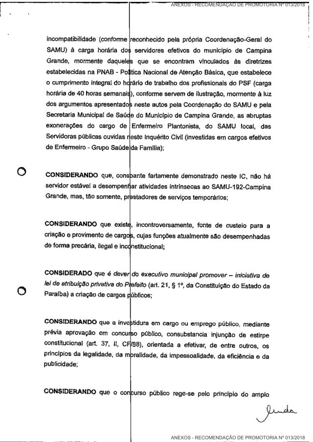 MPPB recomenda que Prefeitura de CG faça concurso de 167 vagas para o Samu do município