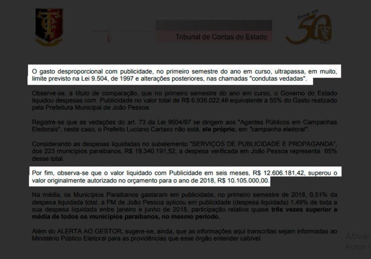 Gestão de Cartaxo eleva em 267% gastos com mídia e TCE-PB decide acionar o Ministério Público Eleitoral
