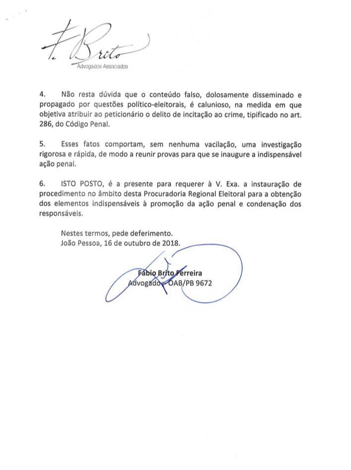 WhatsApp Image 2018 10 16 at 17.04.37 - RC pede ao MPF abertura de investigação contra procurador da Fazenda por disseminar fake news