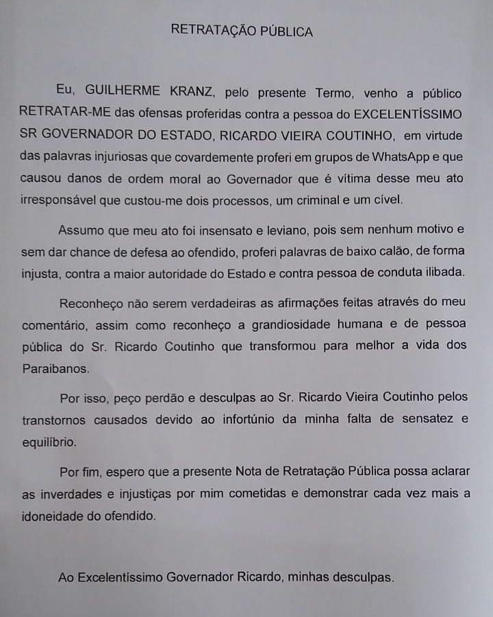 """Internauta é obrigado a se retratar publicamente de """"injúrias"""" e """"inverdades"""" contra governador da PB"""