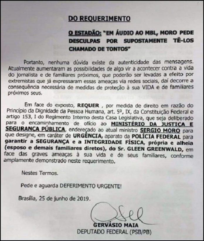 Deputado paraibano pede proteção de vida para editor do site The Intercept