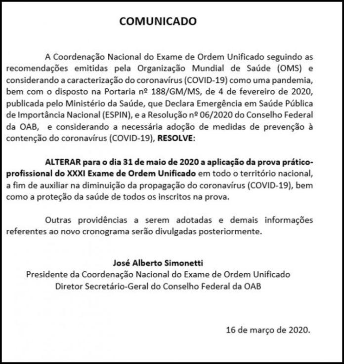 Coronavírus: coordenação decide adiar prova da 2ª fase do exame da OAB
