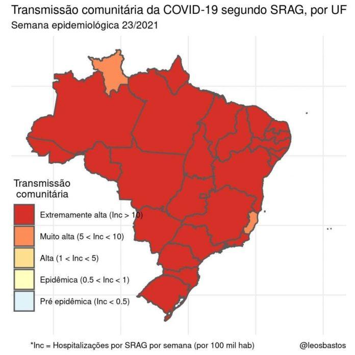 Covid-19: mapa da Fiocruz mostra transmissão 'extremamente alta' na Paraíba