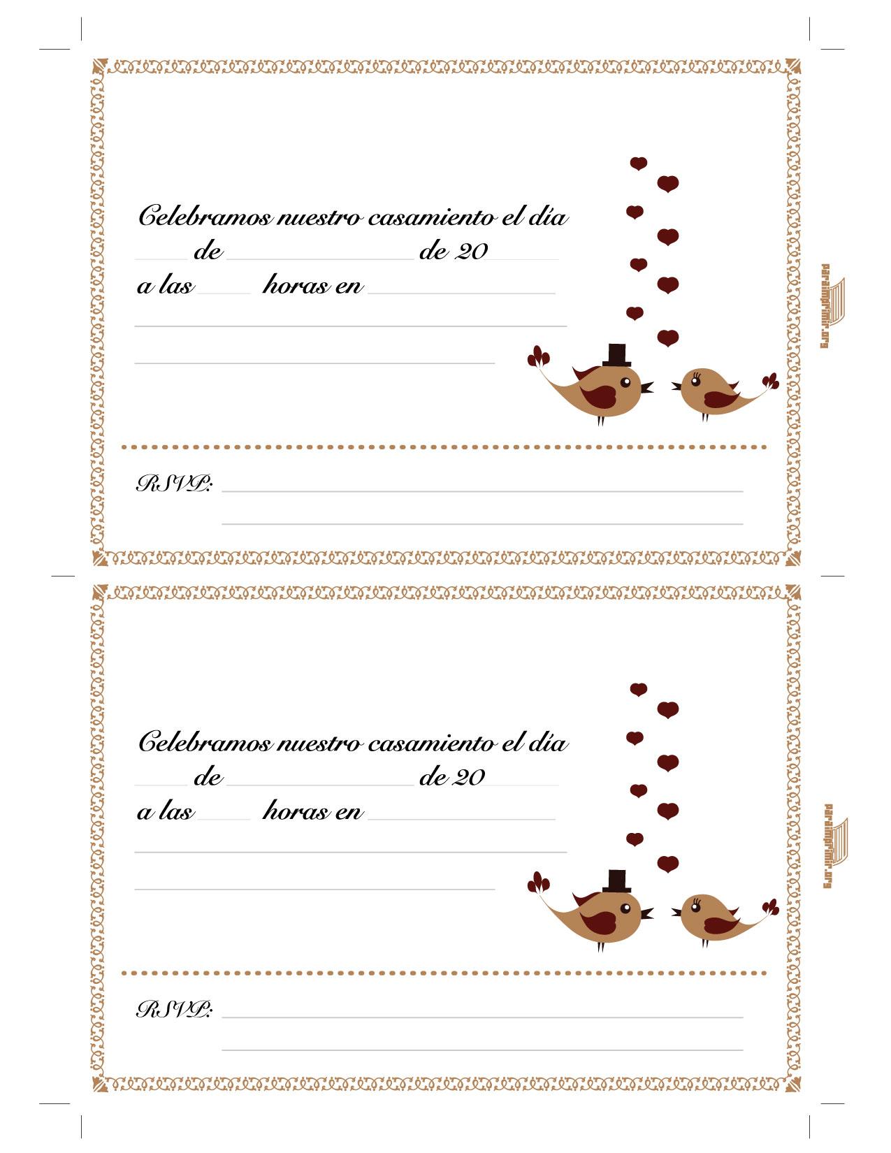 Tarjeta De Casamiento Para Imprimir Tarjetas Para Imprimir