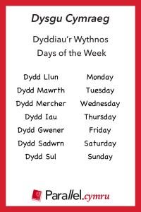 Geirfa Themateg Dyddiaur wythnos