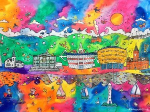 Rhiannon Art Cardiff Colourful Hills and Dancing Boats 1024x768 parallel.cymru wallpaper