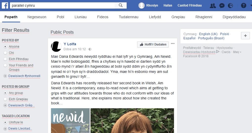 meddal.com: Facebook yn y Gymraeg