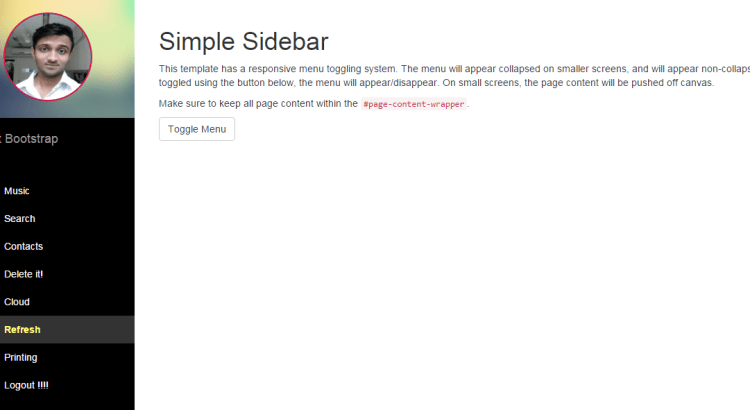 Asp Net Sidebar Menu With Profile Image A Great Looking