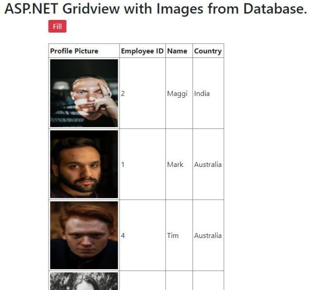 asp.net gridview images table