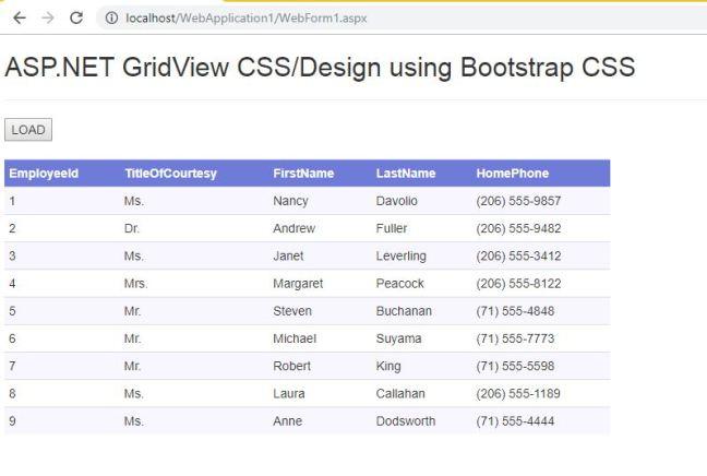 ASP.NET Gridview css design using Bootstrap 01
