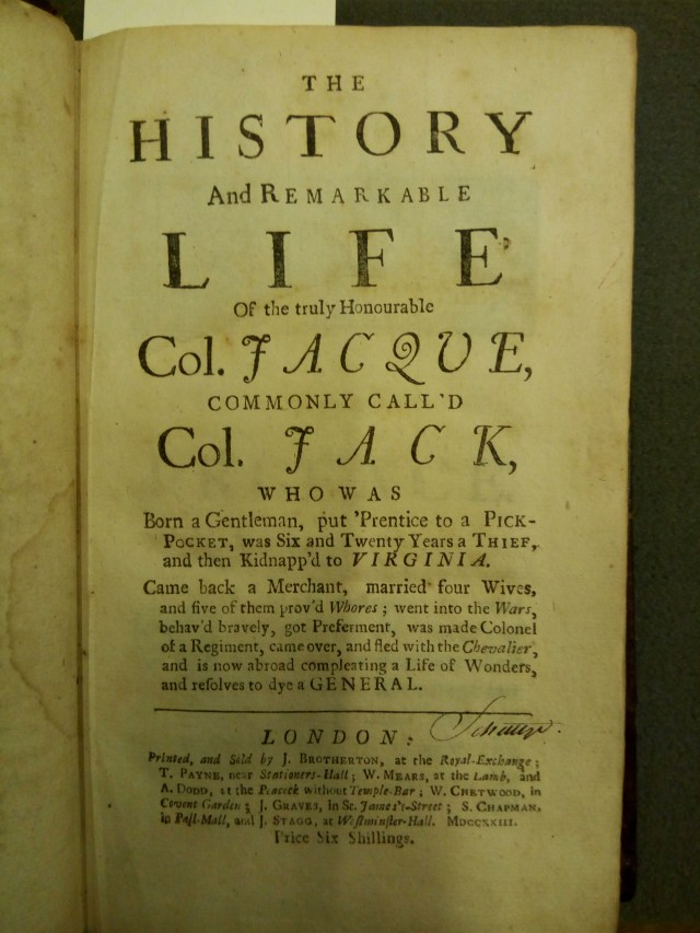 Colonel Jack, First Edition (1722)