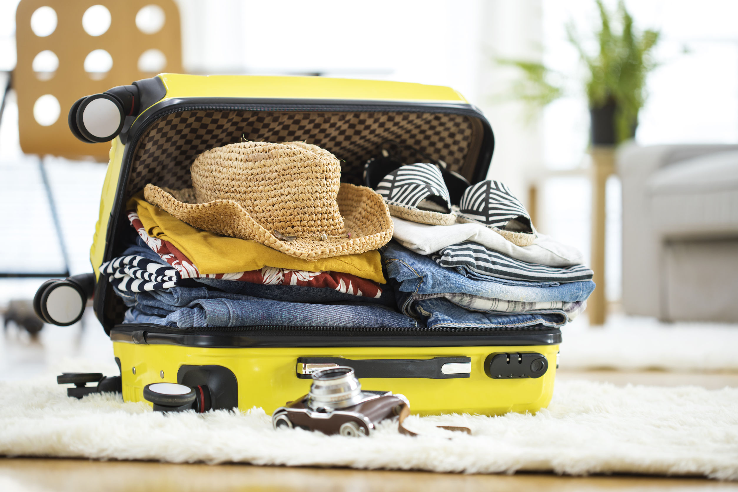 74513355 - preparation travel suitcase at home