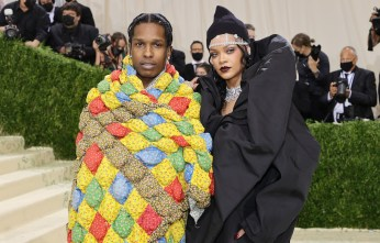 NEW YORK, NEW YORK - SEPTEMBER 13: ASAP Rocky and Rihanna attend The 2021 Met Gala Celebrating In America: A Lexicon Of Fashion at Metropolitan Museum of Art on September 13, 2021 in New York City. (Photo by Mike Coppola/Getty Images)