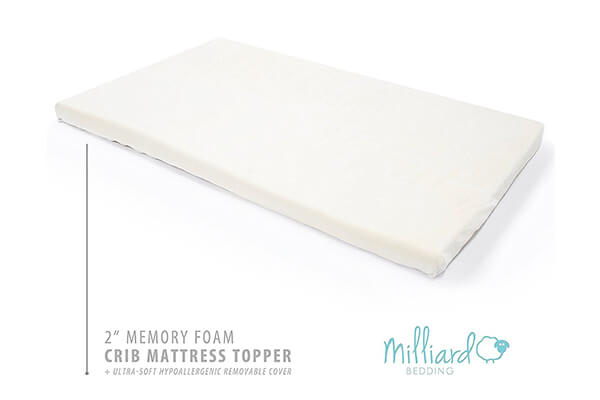 Milliard 2 Inch Ventilated Memory Foam Crib Toddler Bed Mattress Topper
