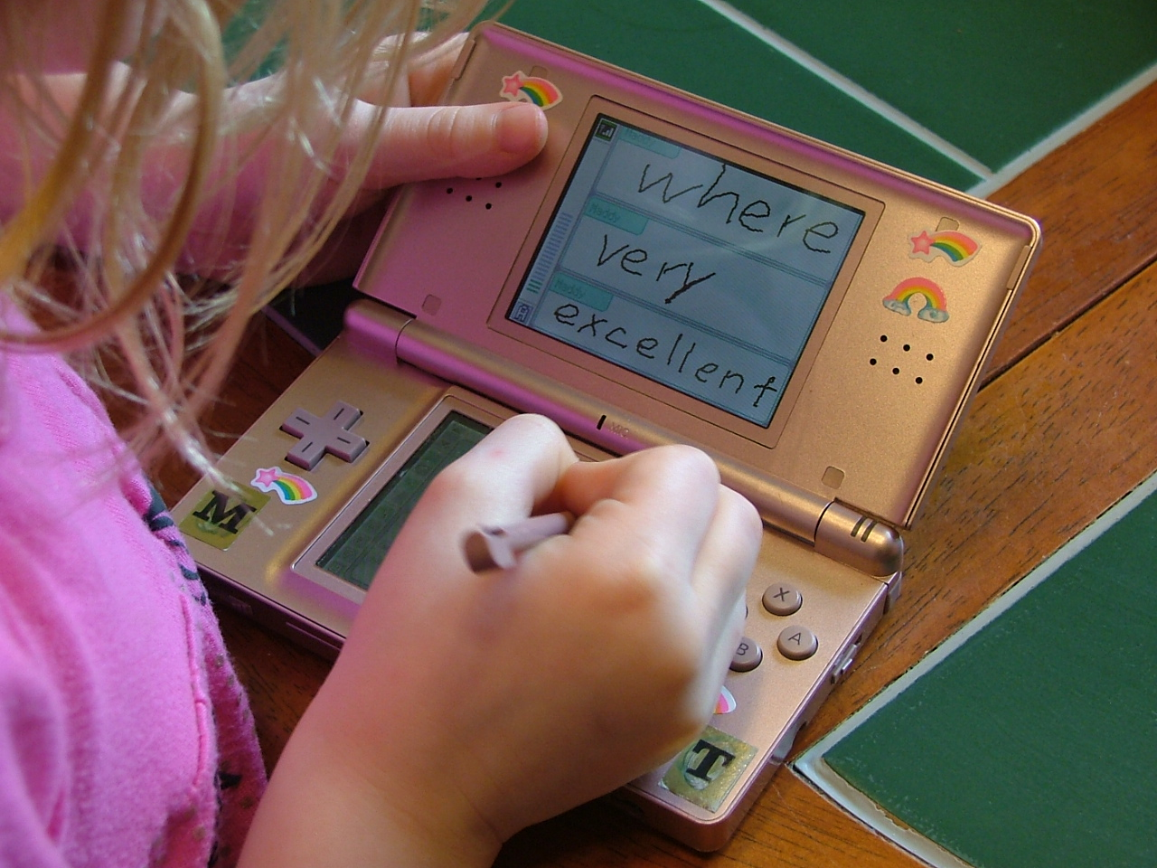 Spelling practice using a Nintendo DS