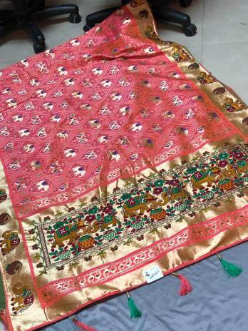 Hand Work pallu with Weaving Work saree