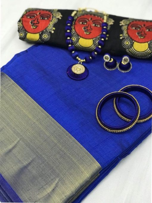 Tussar Silk Golden Zari Work