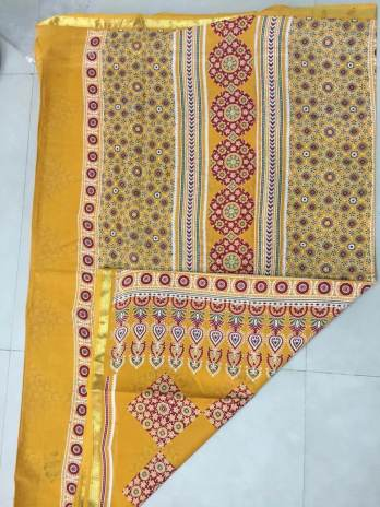 Cotton Ajrakh Print Saree
