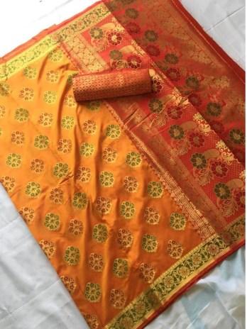 Banaras Silk Patoda Saree with Jhalar