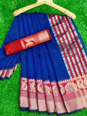 Doriya Ground With Big Size Jacquard Border Saree
