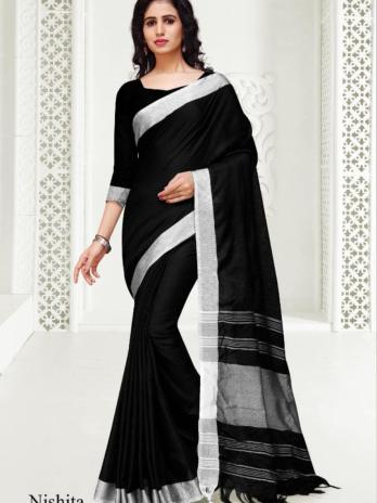 Blended Linen Cotton Saree