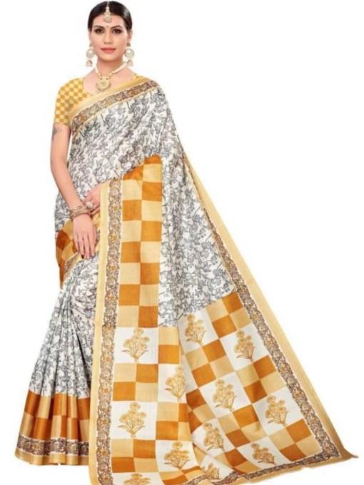 Premium khadi silk kalamkari printed sarees