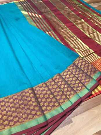 Sky Chanderi Cotton Saree