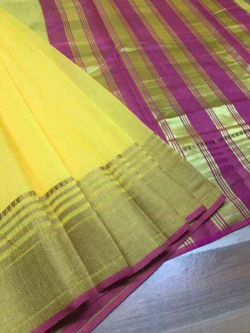 Yellow Chanderi Cotton Saree