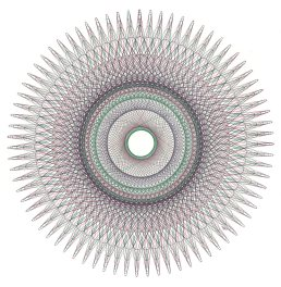 Fibonacci number sequence of patterns. Drawing is approximately 12 inches in diameter.
