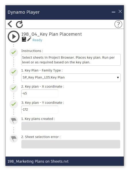 Dynamo Player - Place key plan family on sheet