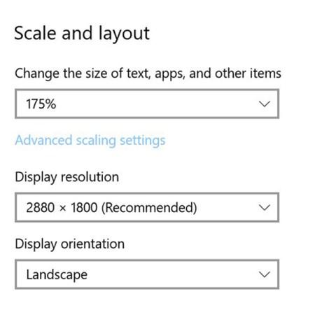Window's display settings