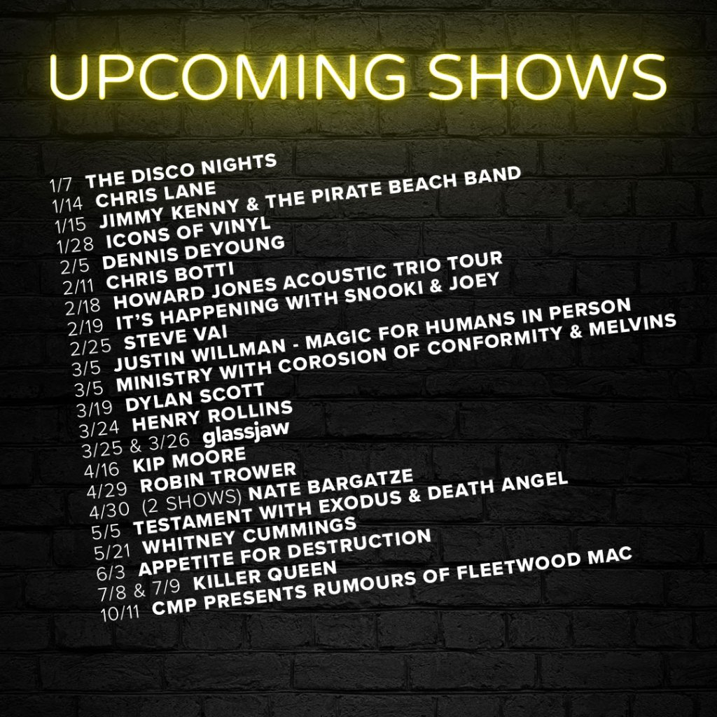 Upcoming Show List 3