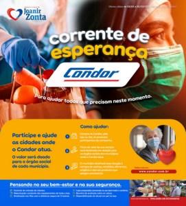 """Condor lança """"Corrente de Esperança"""" para minimizar os impactos da pandemia"""