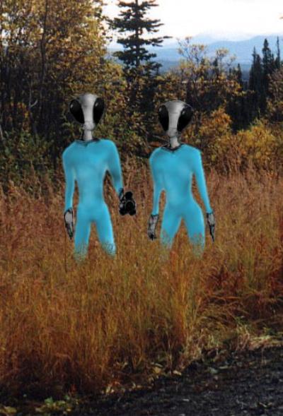 Rencontre avec les deux aliens. Artwork by Patty D. & Jim G.