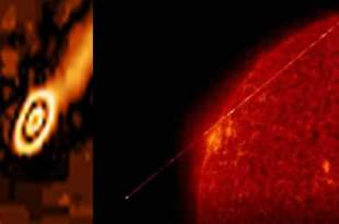Un ovni géant émet un rayon laser près du soleil