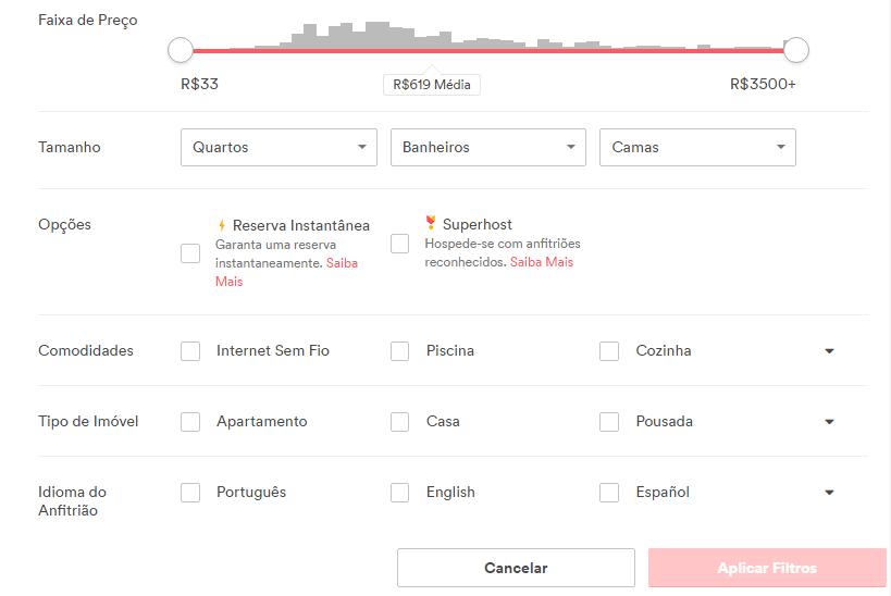 Filtros airbnb