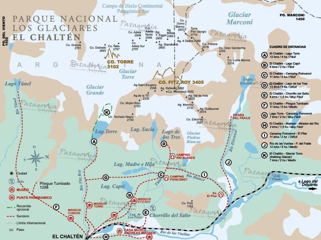 mapa de trilhas el chalten