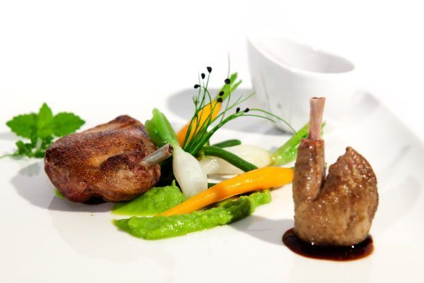 Dish of gastronomy with pigeon