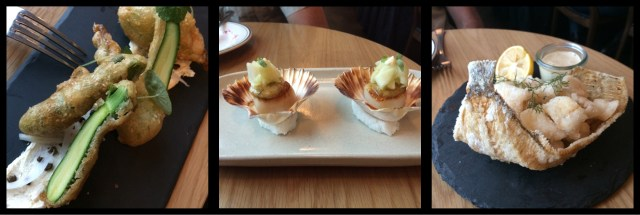 Riley Street Garage: Zucchini Flowers Scallops, Crispy Fried Sole