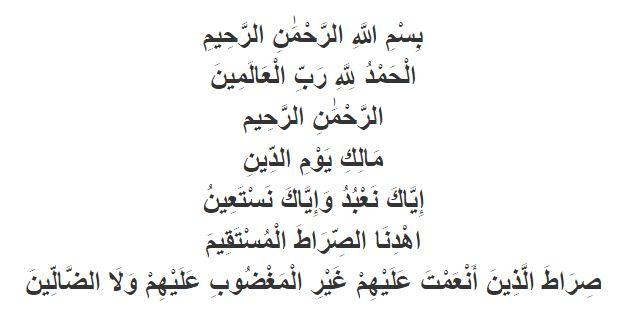 Tuntunan Sholat bacaan surat Al-Fatihah