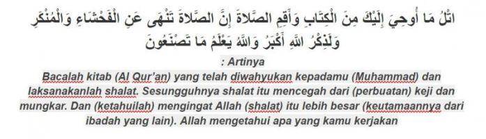 dalil tuntunan sholat al-ankabut ayat 45